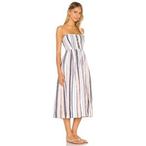 Free People Button Front Pleated Tube Midi Dress